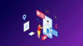 现代平的网上医学和医疗保健的设计等量概念横幅和网站的 等量登陆的页模板 库存例证