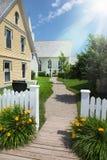 现代庭院的房子 免版税库存照片