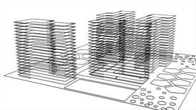 现代建筑和大厦黑白图纸的抽象动画  o ??3d?? 皇族释放例证