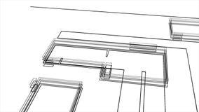 现代建筑和大厦黑白图纸的抽象动画  o ??3d?? 库存例证