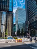 现代建筑学在东京街市-东京,日本- 2018年6月19日 免版税库存照片