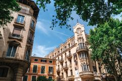 现代建筑学在帕尔马,巴利阿里群岛,西班牙 免版税库存图片