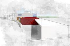 现代建筑学计算机生成的例证水彩s 库存例证