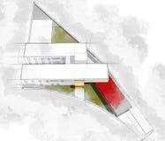 现代建筑学计算机生成的例证水彩s 向量例证