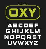 现代异常的大胆的英语字母表 几何字体、概念性技术信件组合图案的或商标在黑色 库存图片