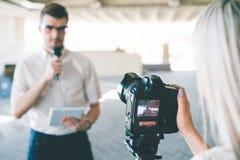 现代录影摄制设备电视 免版税库存照片