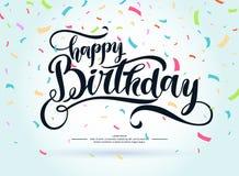 现代手拉的字法生日快乐 布局和模板的手写的题字 图库摄影