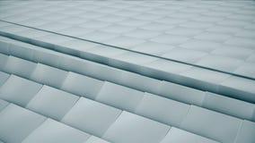 现代抽象金属栅格表面转动明亮的蓝色立方体波浪  免版税库存照片
