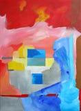 现代抽象派-绘画-在背景的正方形 免版税库存照片