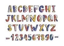 现代拉丁字体或英语字母表手拉在白色背景 被构造的信件以字母顺序安排了 库存例证