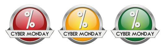 现代按钮传染媒介网络星期一 免版税库存照片