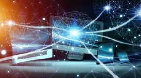 现代数字式技术设备互相连接了3D翻译 库存照片