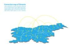 现代斯洛文尼亚地图连接网络设计,斯洛文尼亚从概念系列的地图事务的最佳的互联网概念 库存例证