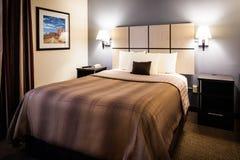 现代旅馆卧室 免版税库存照片