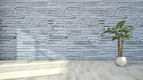 现代明亮的内部公寓客厅3D翻译illus 免版税库存图片