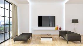 现代明亮的内部公寓3D翻译例证 库存图片