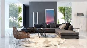 现代明亮的内部公寓3D翻译例证 库存照片