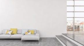 现代明亮的内部公寓3D翻译例证 免版税库存照片