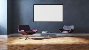 现代明亮的内部公寓3D翻译例证 免版税库存图片