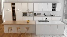 现代最低纲领派白色和木厨房未完成的项目草稿有海岛和大全景窗口的,木条地板,吊灯 库存照片
