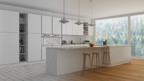 现代最低纲领派白色和木厨房未完成的项目草稿有海岛和大全景窗口的,木条地板,垂饰 库存照片