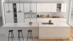 现代最低纲领派白色和木厨房未完成的项目草稿有海岛和大全景窗口的,木条地板, 免版税库存图片