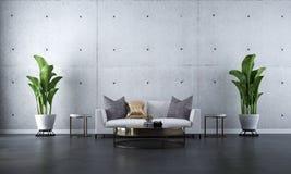 现代最小的客厅和具体纹理墙壁背景的室内设计概念 库存图片