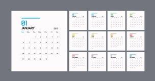 现代最小的日历计划者模板在2019年 传染媒介设计编辑可能的模板 向量例证