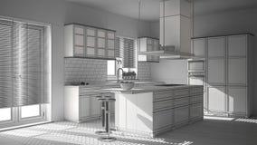 现代木和白色厨房未完成的项目有海岛、凳子和窗口的,木条地板人字形地板 免版税库存照片