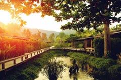 现代木房子在有一个逗人喜爱的小的池塘的一个庭院里 日出自然本底 库存照片