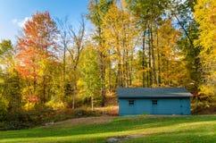 现代木棚子在有高大的树木的一个草甸在背景中在秋天 库存图片