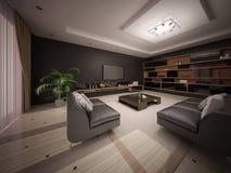 现代样式的宽敞客厅与功能家具 向量例证