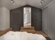 现代样式的时髦的卧室与轻和黑暗的墙壁 免版税库存照片