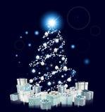 现代样式蓝色圣诞树 免版税库存图片