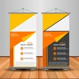 现代桔子卷起横幅 给传染媒介模板设计做广告 向量例证