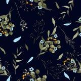 现代植物的背景 墙纸 拉长的现有量 也corel凹道例证向量 民间花 与野花的无缝的花卉样式 库存例证