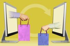 现代概念,从显示的两只手 有购物带来的有购物带来的手和手 3d例证 免版税库存图片