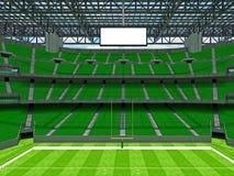 现代橄榄球体育场与geen位子 免版税库存照片