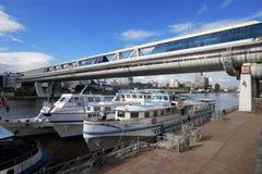 现代步行桥Bagration在莫斯科 俄国 图库摄影