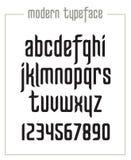 现代浓缩的sanserif狭窄字体 免版税库存照片