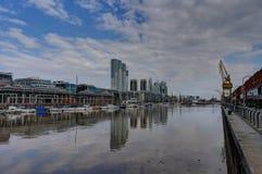 现代港口马德罗港区在布宜诺斯艾利斯阿根廷 免版税图库摄影