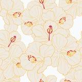 现代热带花无缝的样式设计 向量例证