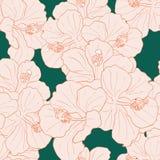 现代热带花无缝的样式设计 皇族释放例证