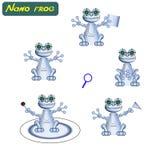 现代现实机器人青蛙 也corel凹道例证向量 计算机控制学的纳诺助理 未来派创新集成了我们的生活 v 皇族释放例证