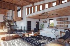 现代瑞士山中的牧人小屋内部 向量例证