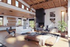 现代瑞士山中的牧人小屋内部 库存例证