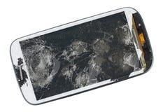 现代电话一个残破的屏幕  这个设备从p被抹了 免版税库存图片