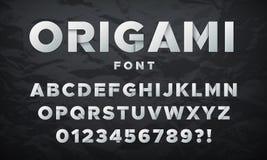 现代白皮书字体 Origami折叠了信件和数字 scrapbooking向量的字母表要素 向量例证