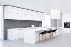 现代白色和木厨房角落 图库摄影