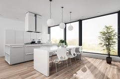 现代白色开放学制小厨房 向量例证
